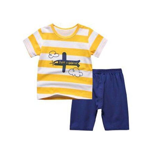 Boys Pajamas Airplane Cotton Kids Clothes Short Sets Toddler