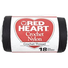 Red Heart Nylon Crochet Thread Size 18-Black