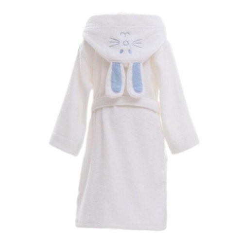 Children Cotton Bathrobe Soft Swim Bath Gown Robes Pajamas with Hat Rabbit-White