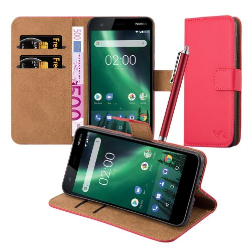 (Red) For Nokia 2 Premium Leather Wallet Case Cover