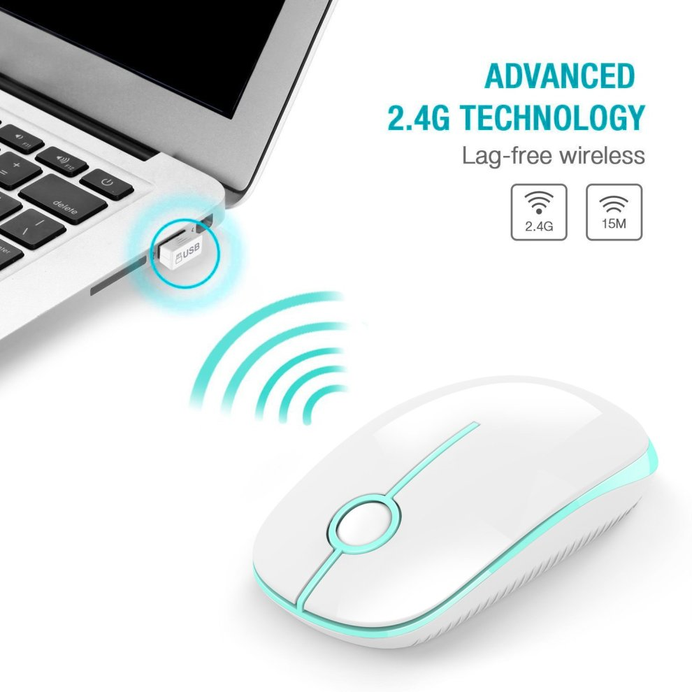 Wireless Mouse, Jelly Comb 2 4G Computer Mice with Nano Receiver for  PC/Tablet/Laptop and Windows/Mac/Linux, Silent & Smooth, Basic Design  (White &