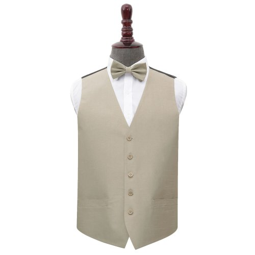 Taupe Shantung Wedding Waistcoat & Bow Tie Set 50'