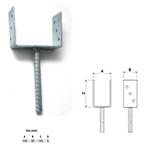 Galvanised U Type Post Fence Foot Anchors 150 x 60 x 120 x 5 mm  pack of 002