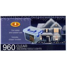CHRISTMAS XMAS LED LIGHTS SNOWING ICICLE / STRING / TREE / NET - WHITE OR BLUE [960 Led White Icicle Lights]