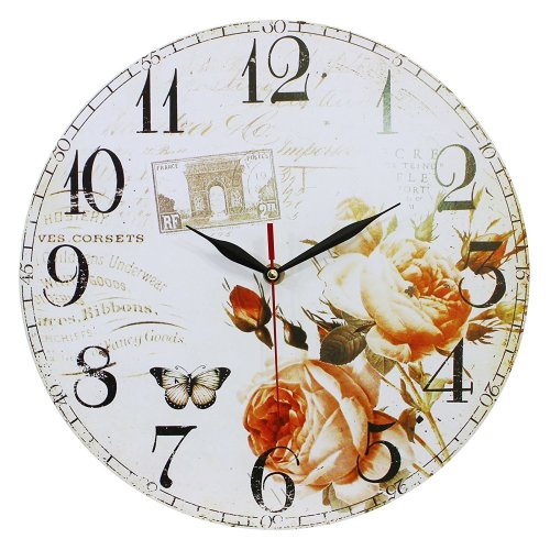 Obique Home Decoration Roses & Butterfly Scene MDF Wall Clock 34cm
