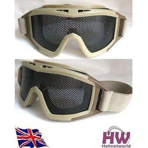 Airsoft Metal Large Mesh Goggles Paintball Sand Tan De Fast Uk Del