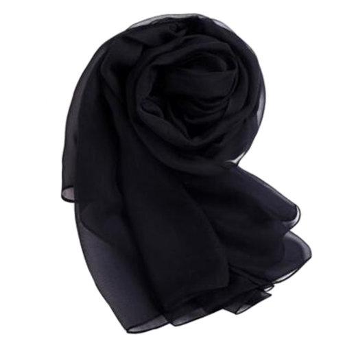 Comfortable Silk Scarf Shawl Wrap Scarves Neckerchief Solid Color, Black