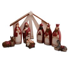 Nine Piece Christmas Nativity Set in Red & Cream Colours