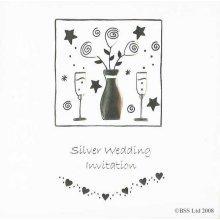 Silver 25th Anniversary Invitation Card by Jean Barrington