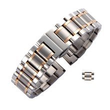 Men/Women Steel Wrist Replacement Straight Cut Butterfly Clasp Watch Band/Strap