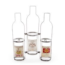 Wall Mountable Triple Wine Bottle Rack with Vintage Labels