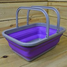 Summit Pop Folding Basket Purple/grey Travel Camping Storage Picnic Lightweight -  pop summit up collapsible basket drainer washing choose colour