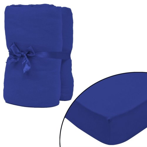 vidaXL Fitted Sheet 2 pcs Cotton Jersey 140x200-160x200 cm Blue
