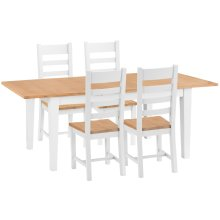 Chester White Painted Oak 1.6m Butterfly Extending Table & 4 Wooden Seat Chairs