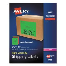 Avery-Dennison Ave5935 8.5 X 11 In. Neon Shipping Label, Assorted, 100 Per Box