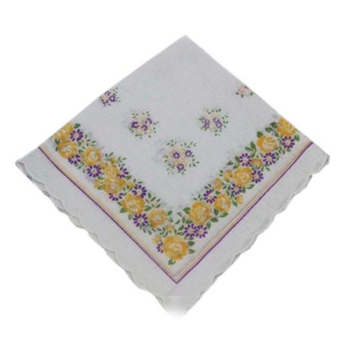 3 Pcs Retro Floral Print Handkerchiefs Ladies Cotton Pocket Handkerchief, #13