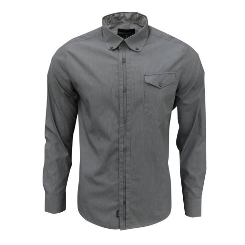 Duck and Cover Men's Felix Long Sleeve Pinstripe Shirt Grey/White