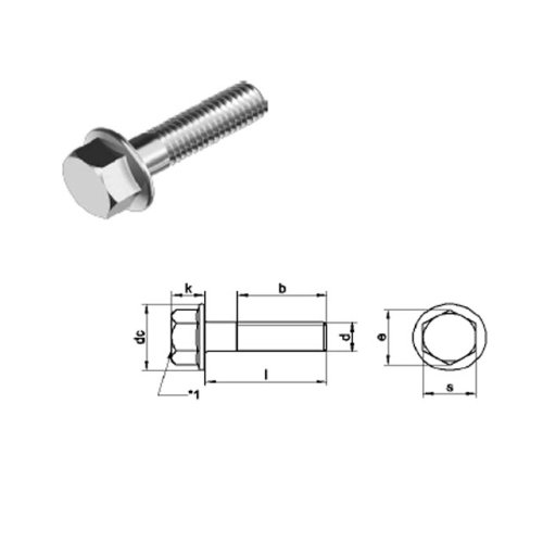 M8 x 30 mm Hexagon Head Bolt with Flange (No serration) Din 6951 - T304 (A2) Stainless Steel