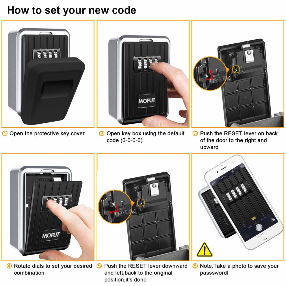 MoFut Safe with 4-Digit Combination, Lock Wall Mounted Outdoor Weatherproof  for Spare Access Cards, Heavy Duty Key Box for Home, Garage, Office and