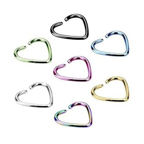 Titanium Plated Single Closure Heart Shaped Fake Ear Cuff Tragus or Cartilage Non Piercing Material : Surgical Steel