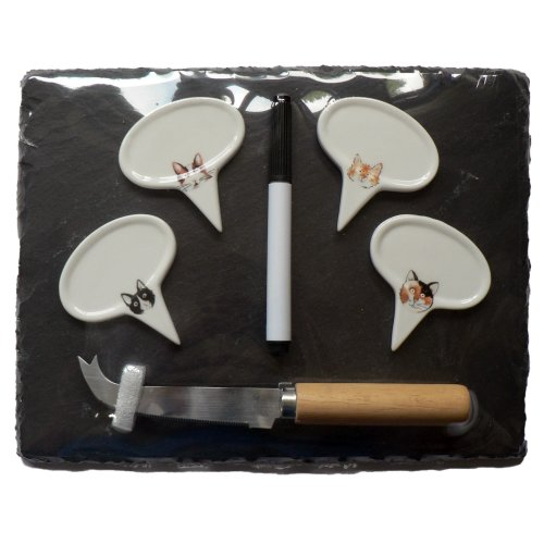 Cats slate cheeseboard, cheese knife and Markers Set