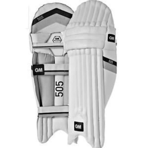 GM 505 Batting Pad -White/Black, Small Boys Lh- Left Hand