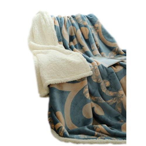 Casual Sofa Blanket Double Layer Soft Throw,Blue,39.4x47.2x1.2 inches #19
