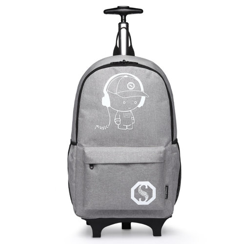 Kono Rolling School Bag for Boys Girls Anime Luminous Backpack Men Women Wheeled Laptop Backpacks Waterproof Travel Rucksack Grey