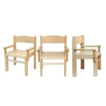 Children's Furniture Beech Wood Set: 3 Chairs with Armrest Natural