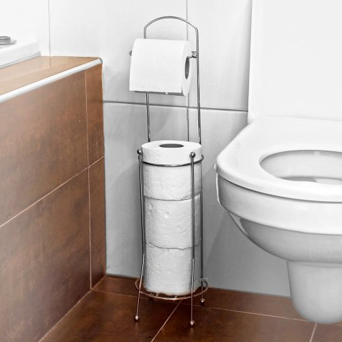 Chrome Toilet Roll Holder Stand with Storage Space For 3 Rolls