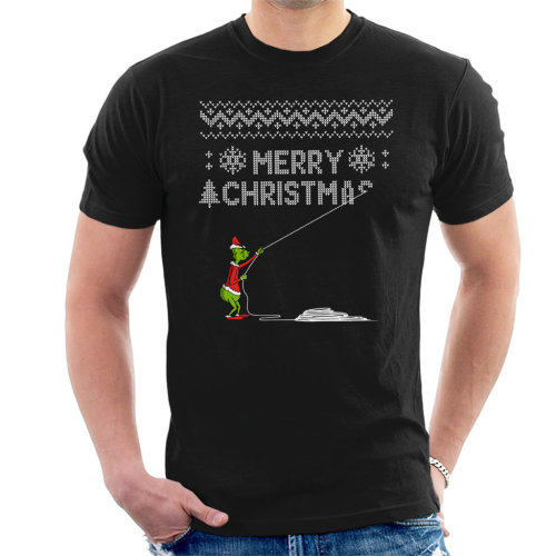 Grinch Stealing Christmas Knit Pattern Men's T-Shirt