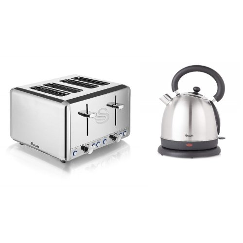 Silver Stainless Steel 1.8L 2.2kW Polished Dome Kettle & 4 Slice Toaster