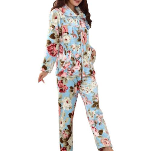 Casual Pajama Set Warm Sleepwear Home Apparel Flannel Pajamas X-large-A2