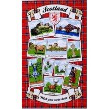 Scotland Wish You Were Here Tea Towel Red Tartan Landmarks Scenes Souvenir Gift Cotton Edinburgh Eilean Castle Forth Bridge Bagpipes Highland Fling