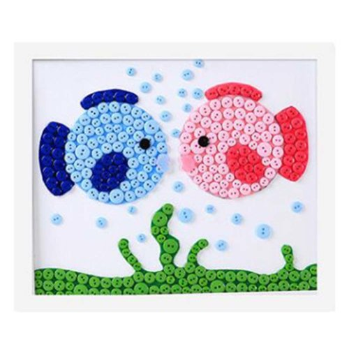 Nice Fishes DIY Button Painting Mosaic Craft for Kids