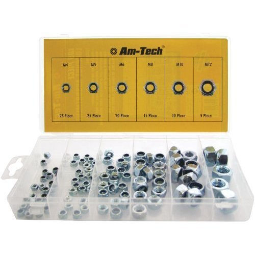100pc Assorted Locking Nuts -  locking nuts 100pc m4 m5 m6 m8 m10 m12 nylon assorted nyloc inserts set high vibration