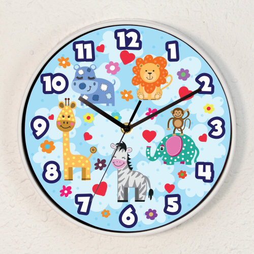 Happy Animals Children Wall Clock Kids Room