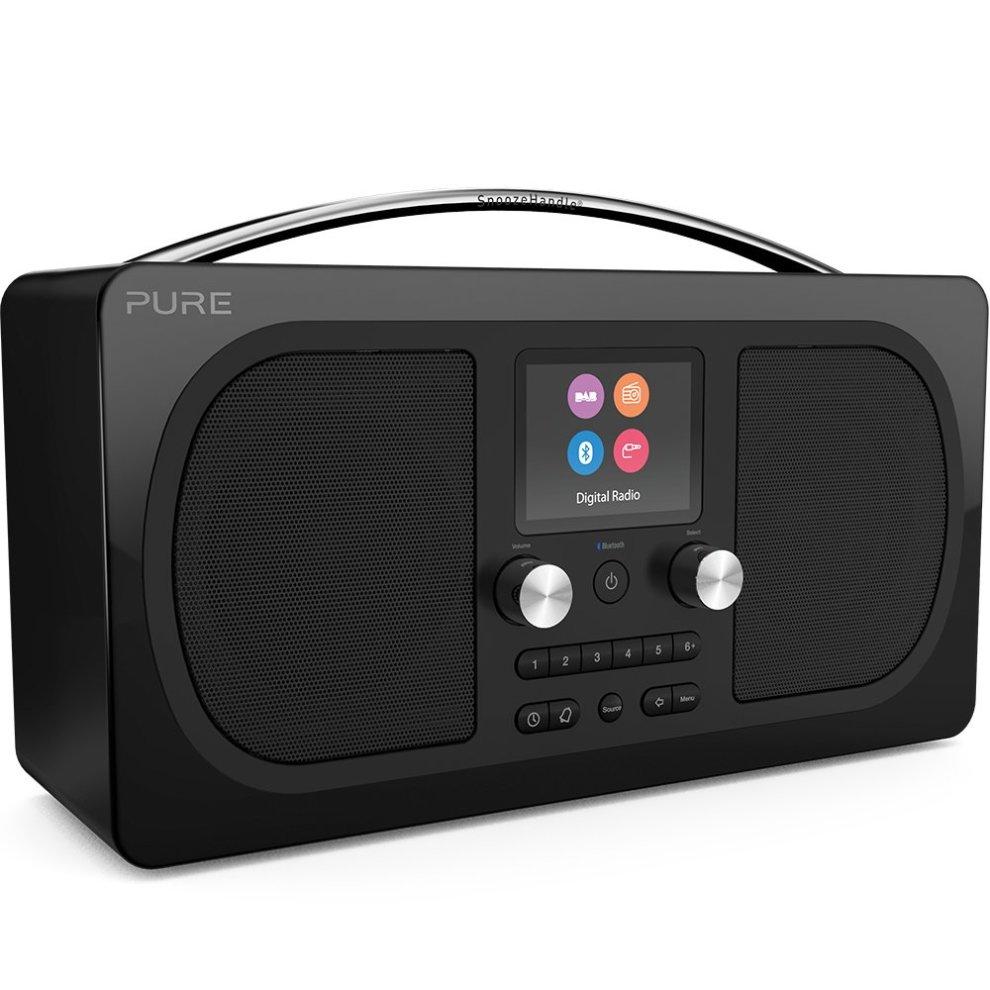 Pure Evoke H6 Prestige Edition Portable Stereo DAB/DAB+/FM Radio with  Bluetooth Music Streaming, Alarms and Full Colour Display - Black