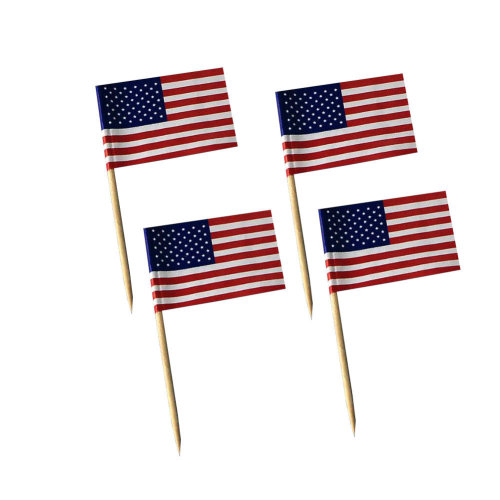 200 Counts Cocktail Picks Handmade Bamboo Toothpicks - American Flag