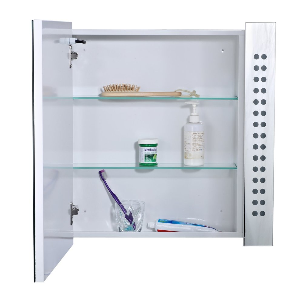Homcom Bathroom Mirror Cabinet with Bluetooth Speaker LED Display on ...