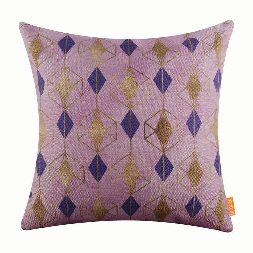 """18""""x18"""" Fashion Pink Geometry Burlap Pillow Cover Cushion Cover"""