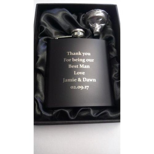 6oz Matt Black Hip Flask Gift Set