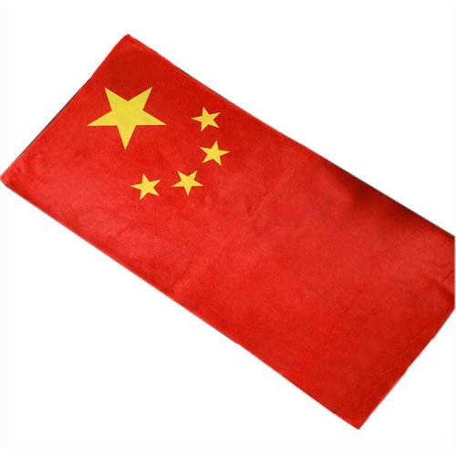 "Fiber Bath Towel 55"" x 27.5"" Large Towel  for Beach Sport, Chinese flag Pattern"