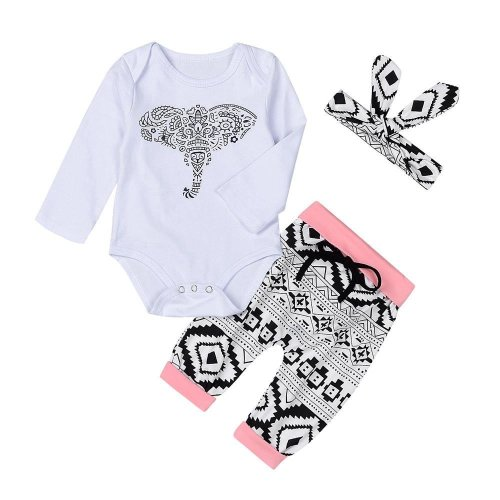 Newborn Toddler Baby Boys Girls Outfits Clothes Elephant Romper Pants 3pcs Set