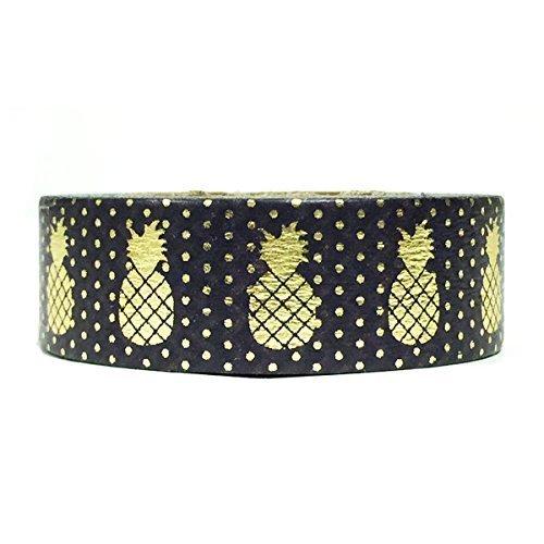 Wrapables Colorful Washi Masking Tape Golden Pineapple Black