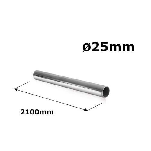 WARDROBE ROUND RAIL POLE TUBE CHROME HANGING RAIL 25MM x 2100MM