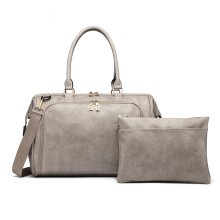 (Grey) 3pc Miss Lulu Faux Leather Baby Changing Bag Set
