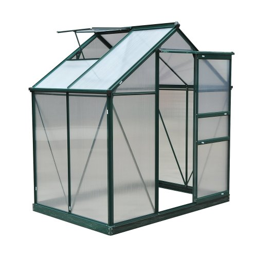 Outsunny Clear Polycarbonate Greenhouse Large W/ Slide Door (6ft X 4ft)
