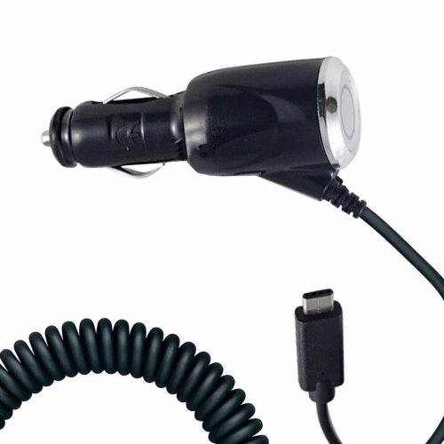 i-Tronixs - Black Coiled Cord Adapter (2000 mAh) Type-C Car Charger for Samsung Galaxy A5 (2017)
