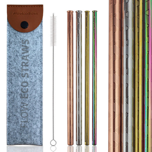Embossed Metal Straws Set | Copper, Rainbow, Gold, Stainless Steel Patterned Reusable Straws by Flow Barware